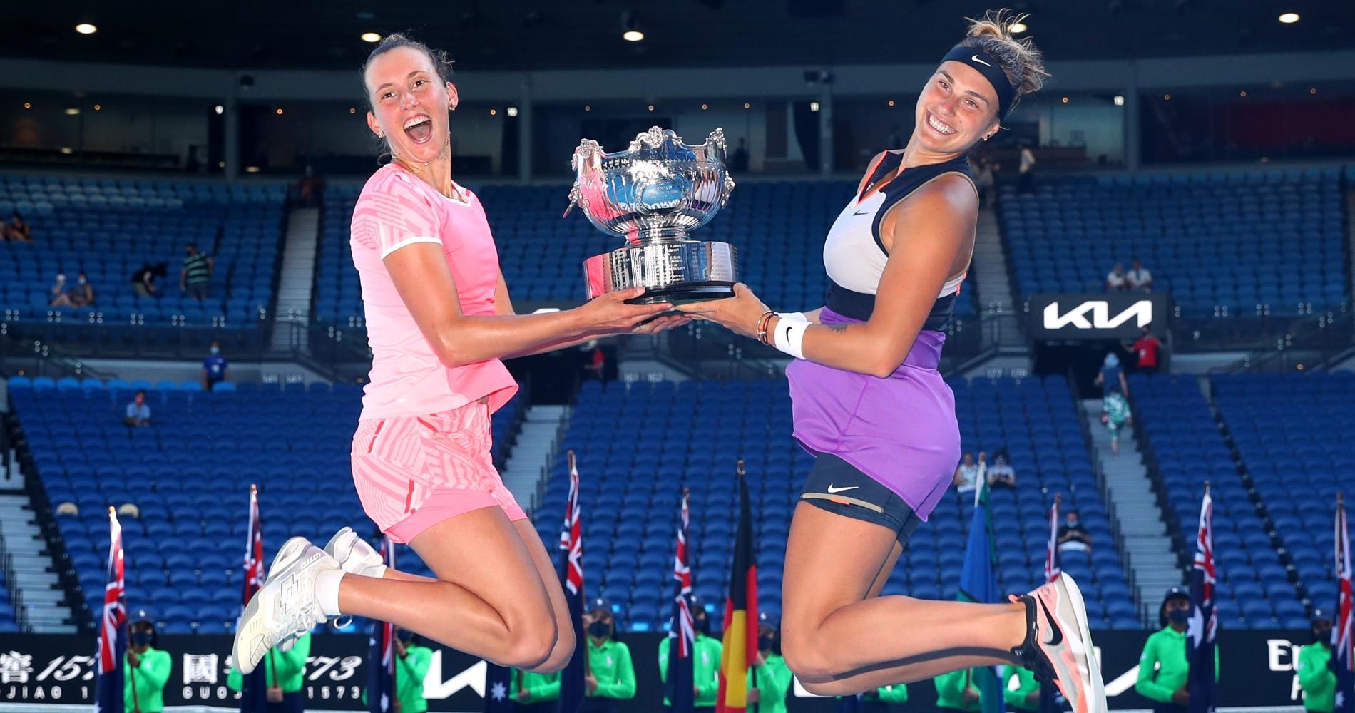 Elise Mertens & Aryna Sabalenka, Women's Doubles champions, 2021 Australian Open