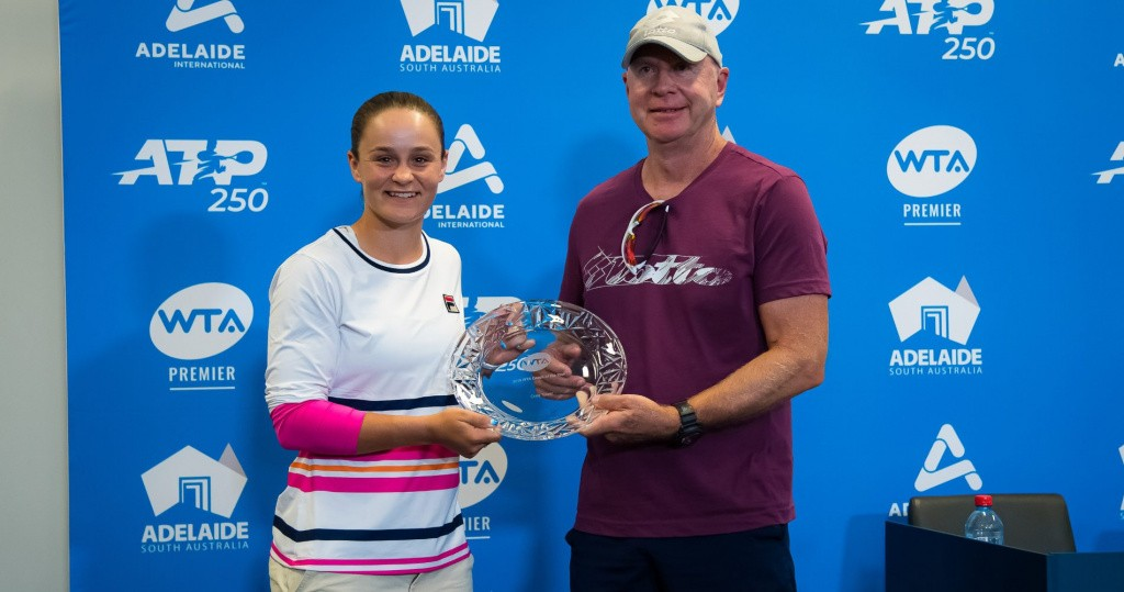 Ash Barty and her coach Craig Tyzzer, Adelaide, 2020