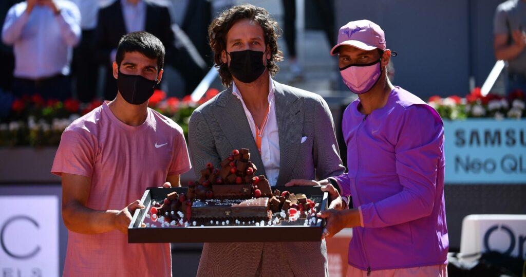 Carlos Alcaraz, Feliciano Lopez and Rafael Nadal at the 2021 Mutua Madrid Open