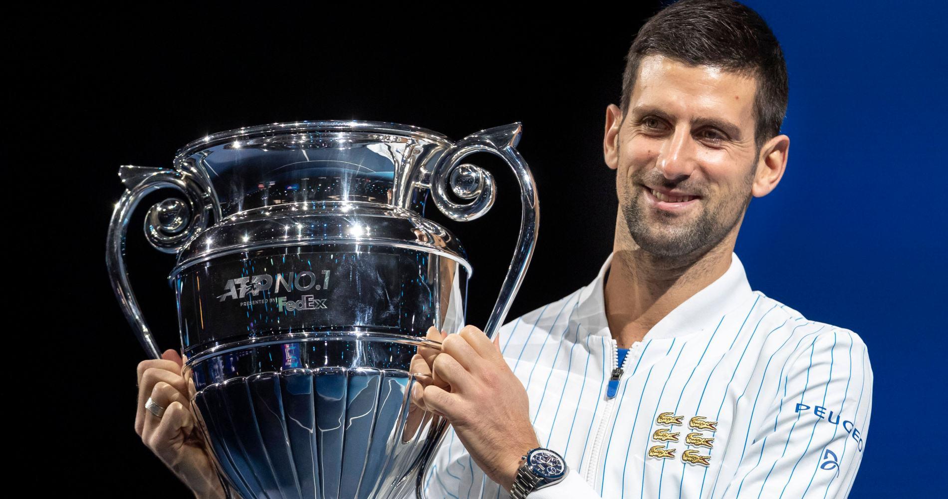Novak Djokovic world No 1 trophy