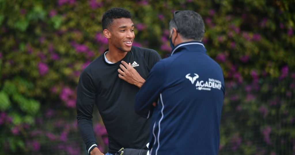 Felix Auger-Aliassime and Toni Nadal in Monte Carlo, 2021