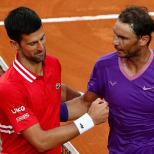 Spain's Rafael Nadal shakes hands with Serbia's Novak Djokovic