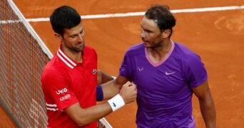 Spain's Rafael Nadal shakes hands with Serbia's Novak Djokovic