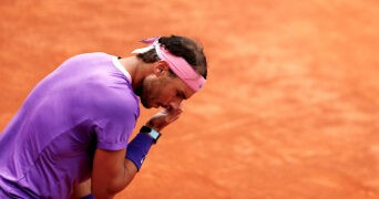 Rafael Nadal reacts during his final match against Novak Djokovic