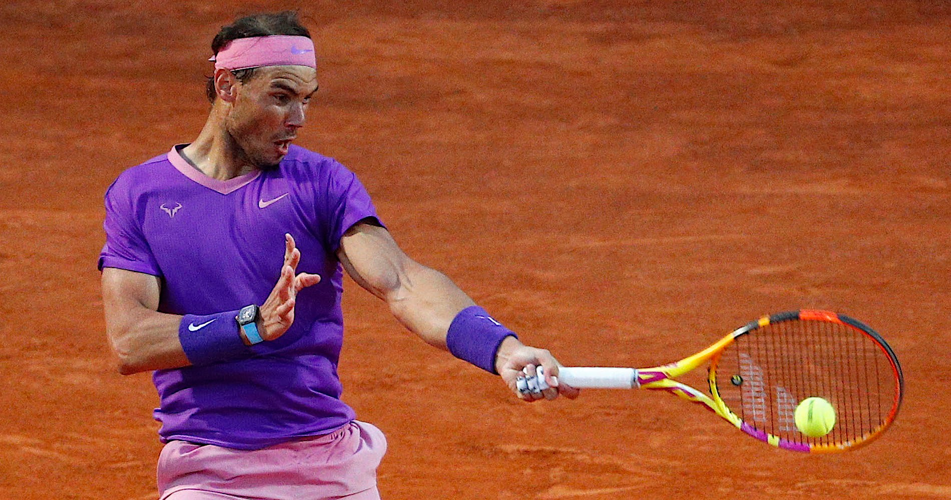 Rafael Nadal in action during his round of 32 match against Italy's Jannik Sinner
