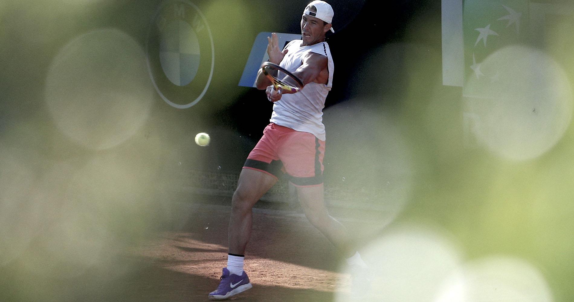 Rafael Nadal in action during training