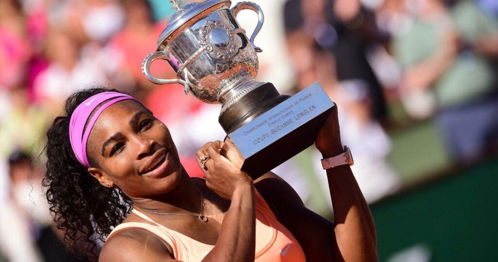 Serena Williams at Roland-Garros in 2015 after his triumph