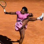 Serena Williams of the United States in action during the second round of the 2021 Internazionali BNL d'Italia WTA 1000 tournament against Nadia Podoroska