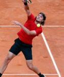 Stefanos Tsitsipas in action during his third round match against Italy's Matteo Berrettini