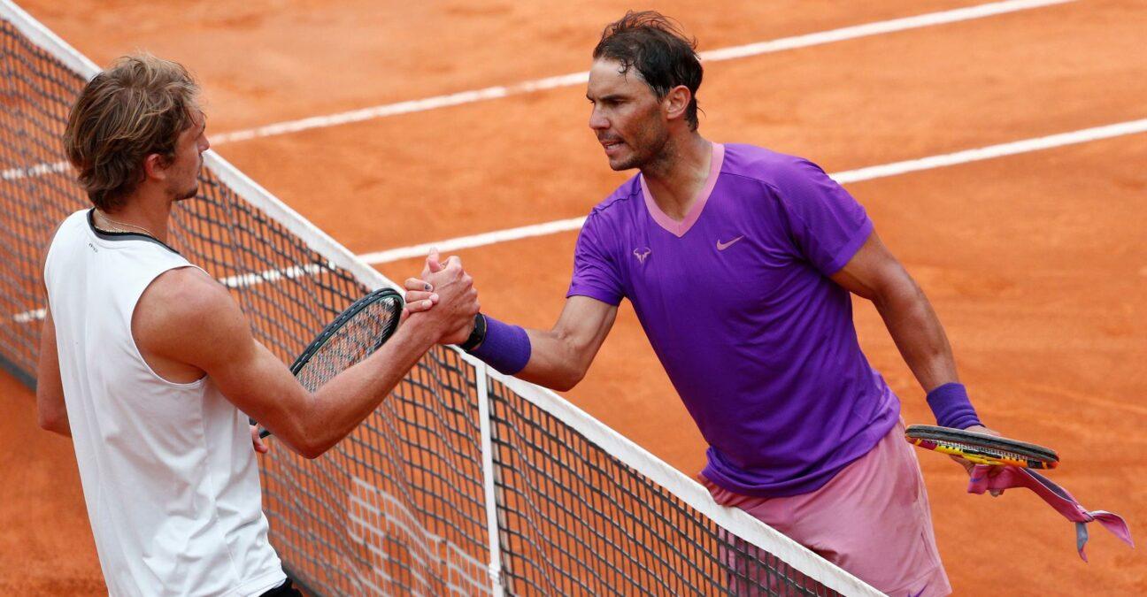 Alexander Zverev and Rafael Nadal at Rome in 2021