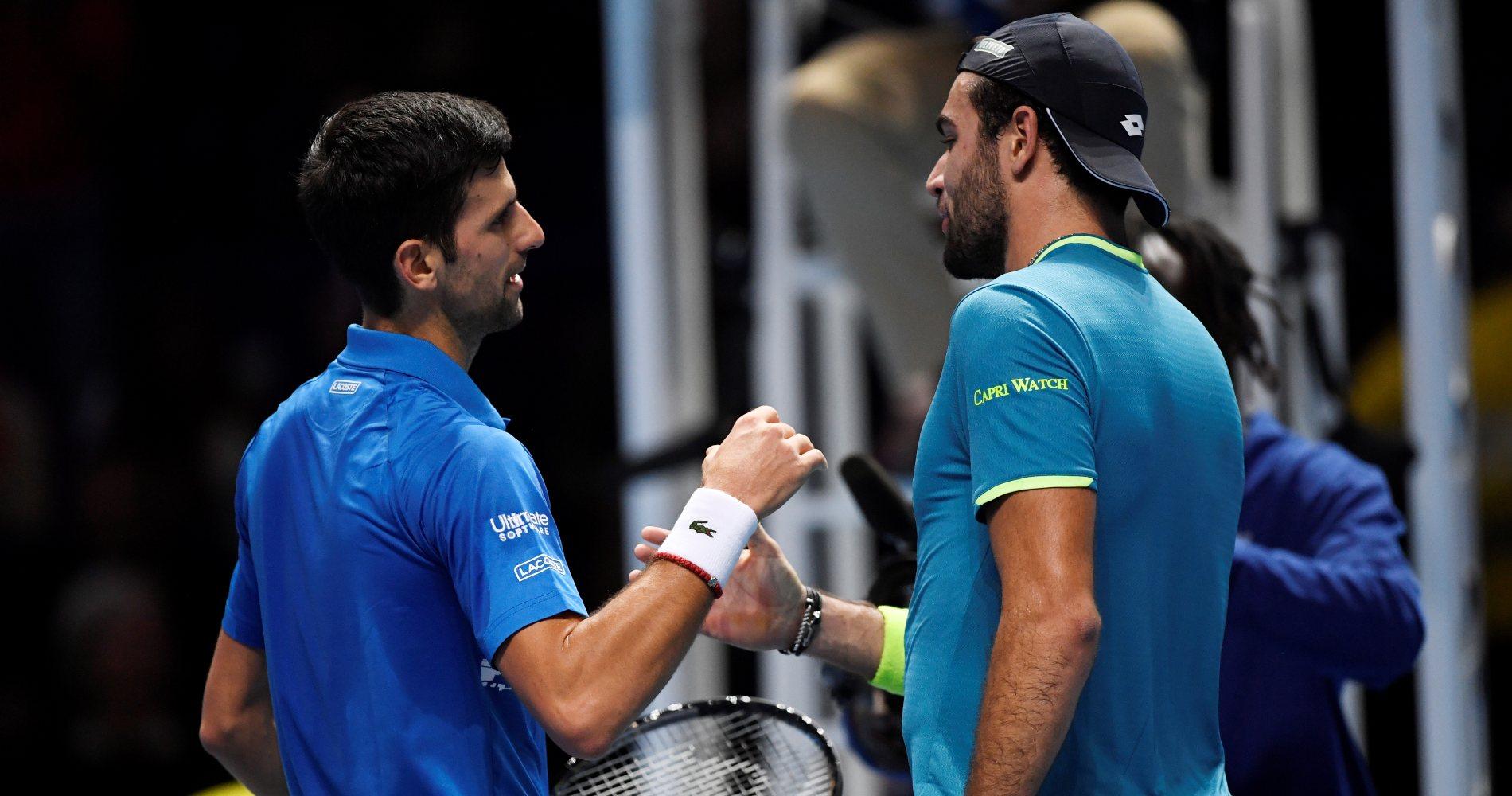 Novak Djokovic & Matteo Berrettini at ATP Finals in 2019