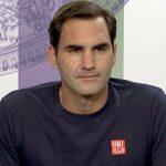 Roger Federer, en conférence de presse à Wimbledon en 2021