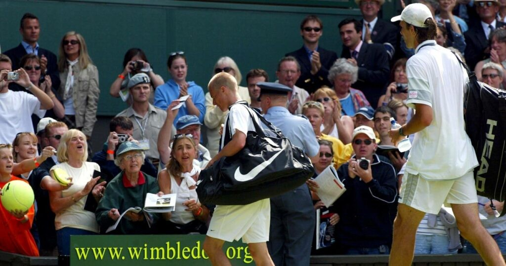 Lleyton Hewitt at Wimbledon in 2003
