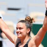 Maria Sakkari after winning the quarter-final at Roland-Garros