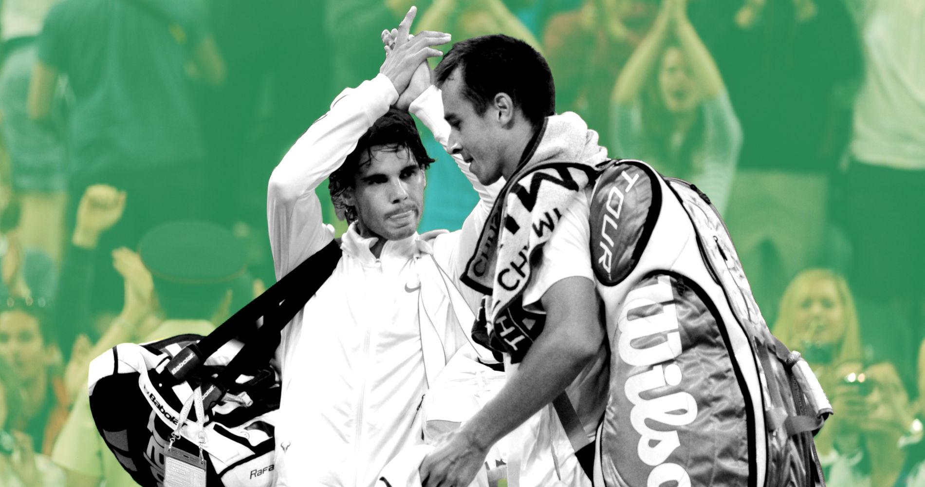 Rafael Nadal & Lukas Rosol at Wimbledon in 2012