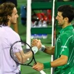 Stefanos Tsitsipas & Novak Djokovic at Dubai in 2020