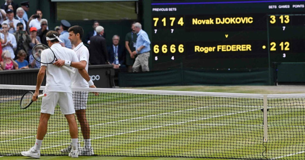 Roger Federer et Novak Djokovic, finale de Wimbledon 2019