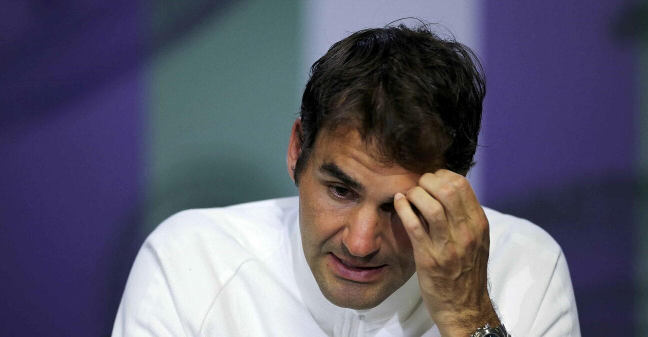 Roger Federer, en conférence de presse à Wimbledon en 2016
