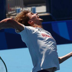 Ariake Tennis Park, Tokyo, Japan - July 22, 2021 Alexander Zverev of Germany during training.
