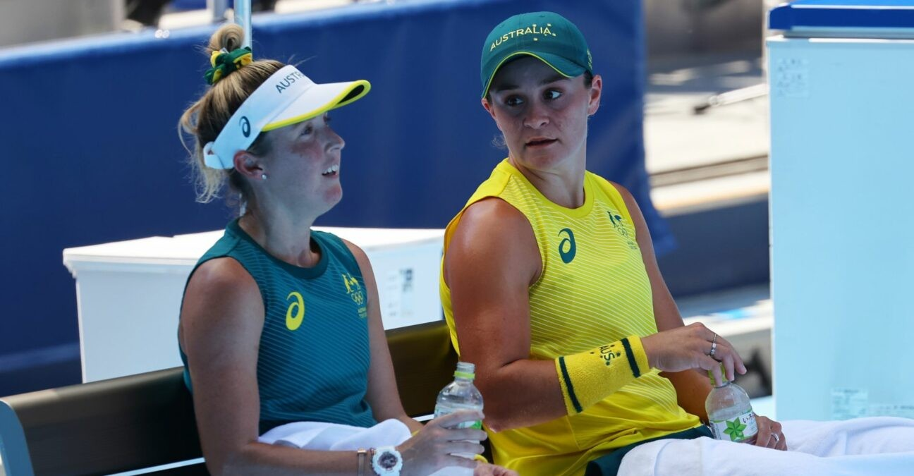 Ariake Tennis Park, Tokyo, Japan - July 22, 2021 Ashleigh Barty of Australia and Storm Sanders of Australia