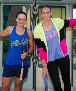 Ashleigh Barty of Australia & Karolina Pliskova of the Czech Republic visit Msheireb Barahat ahead of the 2020 Qatar Total Open WTA Premier 5 tennis tournament