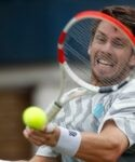 Queen's Club, London, Britain - June 19, 2021 Britain's Cameron Norrie in action during his semi final match