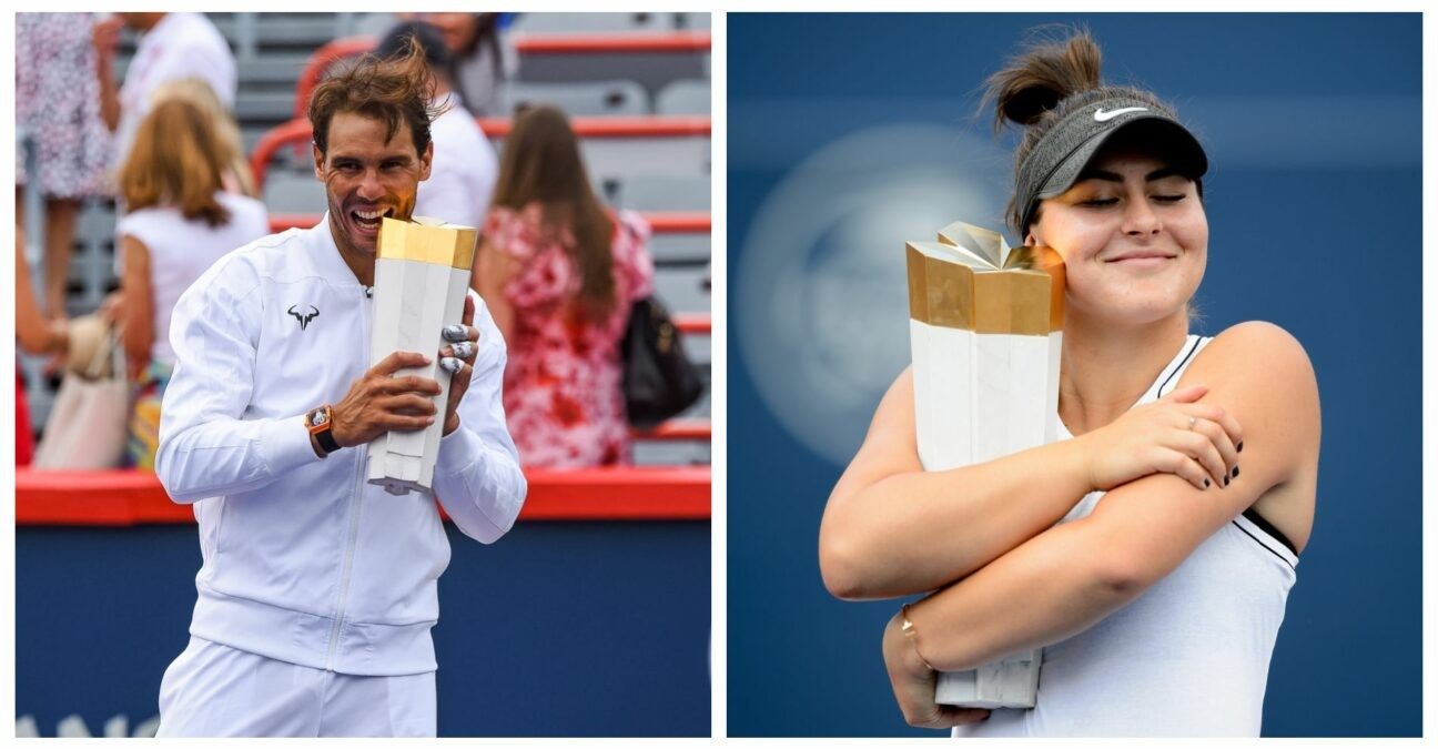 Rafael Nadal and Bianca Andreescu with their trophies after winning the Rogers Cup in 2019