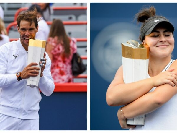 Rafael Nadal and Bianca Andreescu with their trophies afetr winning the Rogers Cup in 2019