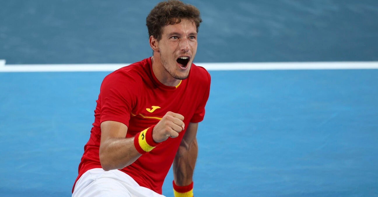 Ariake Tennis Park - Tokyo, Japan - July 31, 2021. Pablo Carreno of Spain celebrates after winning his bronze medal match against Novak Djokovic of Serbia