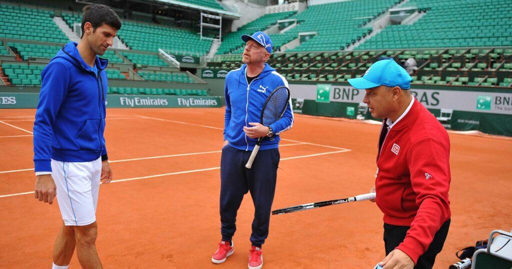 Novak Djokovic, Boris Becker & Marian Vajda at Roland-Garros in 2016