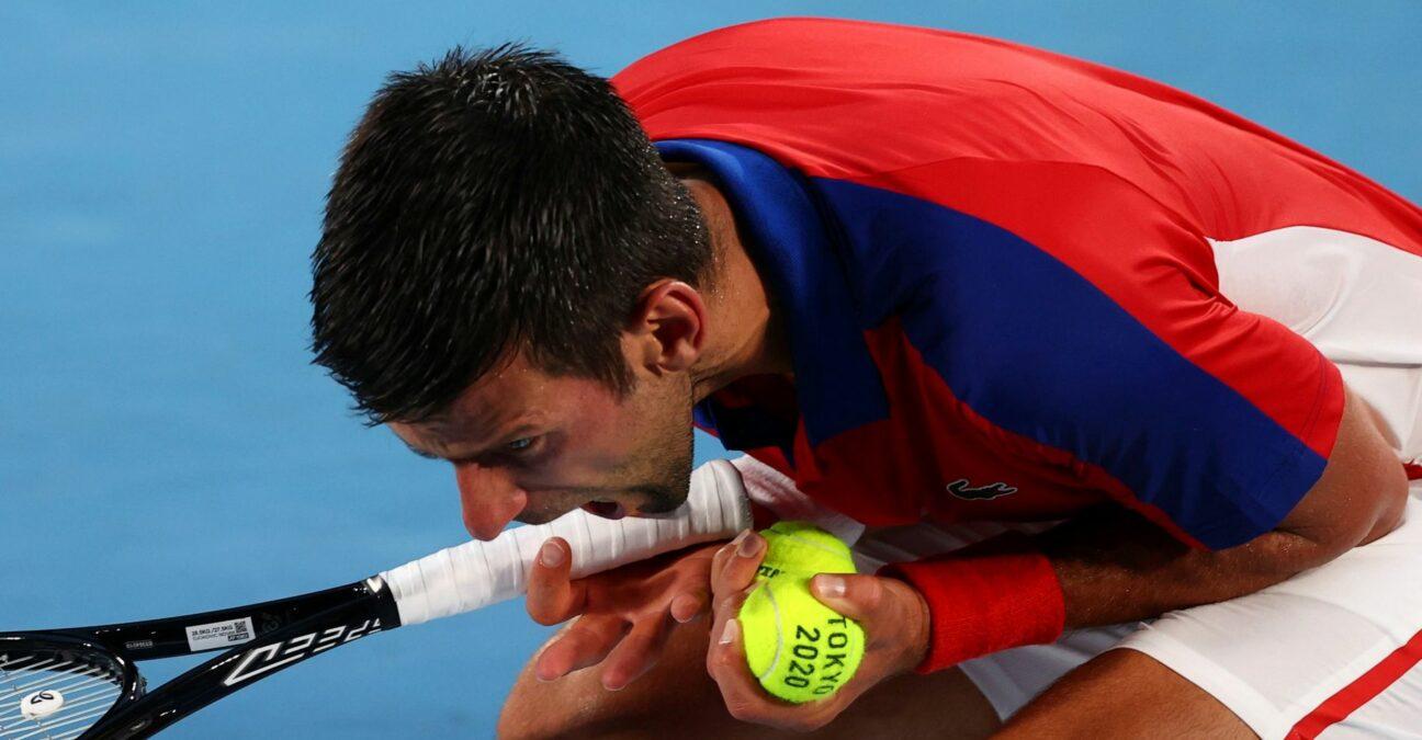Ariake Tennis Park - Tokyo, Japan - Novak Djokovic of Serbia at the Tokyo Olympics