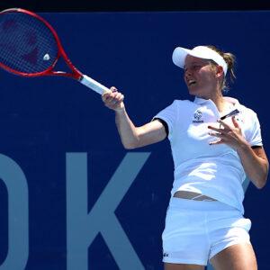 Fiona Ferro in action during her first round match against Anastasija Sevastova