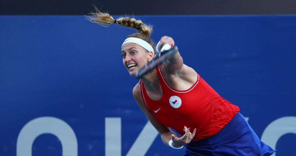 Ariake Tennis Park - Tokyo, Japan - Petra Kvitova of Czech Republic in action at the Tokyo Olympics