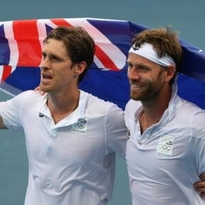 Ariake Tennis Park - Tokyo, Japan - July 30, 2021. Marcus Daniell of New Zealand and Michael Venus of New Zealand celebrate after winning their bronze medal match