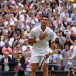 Novak Djokovic celebrates winning his semi final match against Canada's Denis Shapovalov