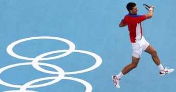 Novak Djokovic of Serbia in action during the Olympics, Tokyo