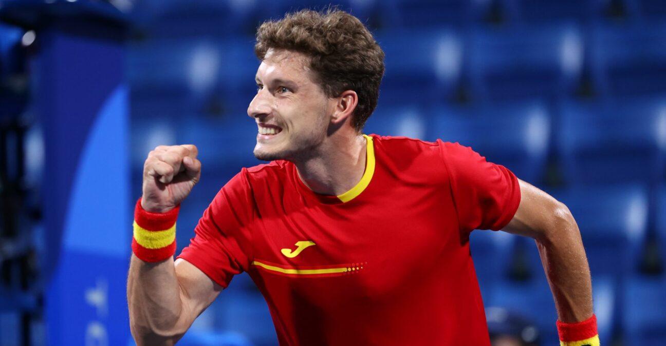 Ariake Tennis Park - Tokyo, Japan - July 29, 2021 Pablo Carreno Busta of Spain in action at the Tokyo Olympics