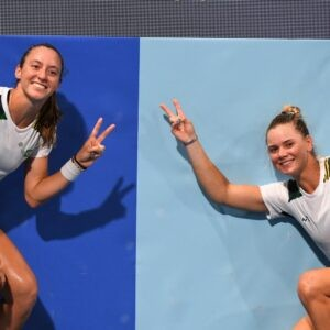 Ariake Tennis Park - Laura Pigossi of Brazil and Luisa Stefani of Brazil at the Tokyo Olympics