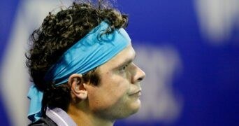 Mexican Open - Acapulco, Mexico - March 16, 2021 Canada's Milos Raonic reacts during his first round match