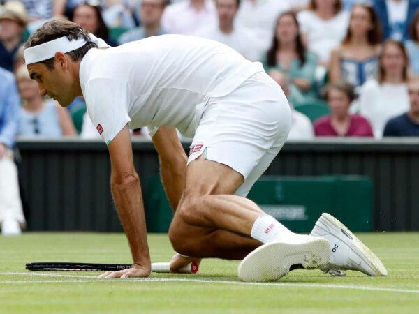 Roger Federer at Wimbledon in 2021
