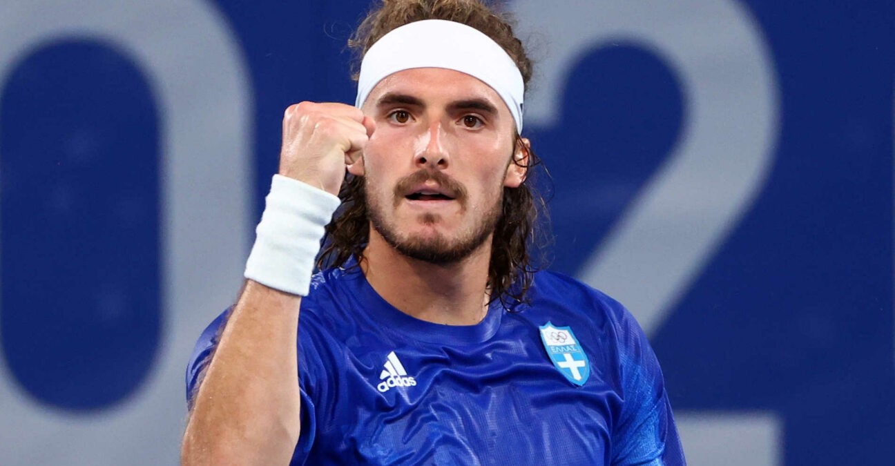 Stefanos Tsitsipas of Greece reacts during the Olympic Games