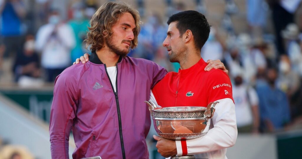 Stefanos Tsitsipas & Novak Djokovic at Roland-Garros in 2021