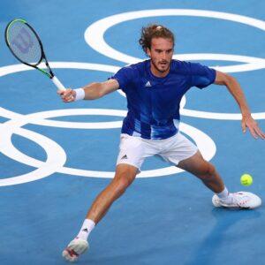 Ariake Tennis Park - Tokyo, Japan - July 25, 2021. Stefanos Tsitsipas of Greece in action