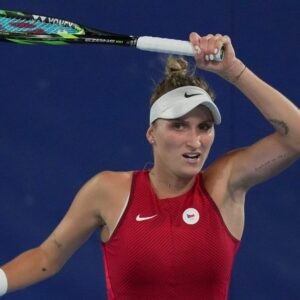 Czech tennis player Marketa Vondrousova in action at the Tokyo 2020 Summer Olympics