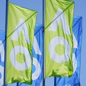 A general view of Australian Open flags in Melbourne, Australia, January 20, 2021.
