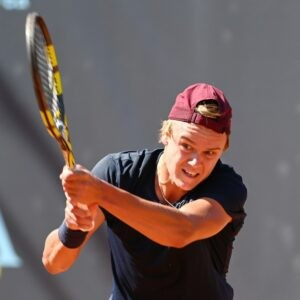 Holger Rune of Denmark during ATP80 Challenger in Verona, Italy