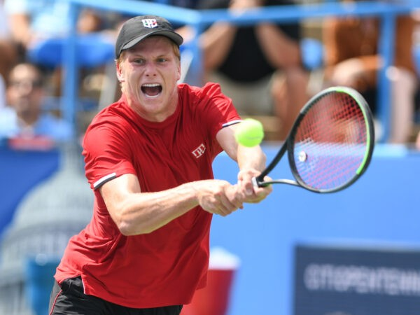 August 6, 2021, Washington, D.C, U.S: JENSON BROOKSBY hits a BACKHAND during his match against John Millman at the Rock Creek Tennis Center.