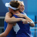 Ariake Tennis Park - Tokyo, Japan - July 29, 2021. Barbora Krejcikova of Czech Republic and Katerina Siniakova of Czech Republic at the Tokyo Olympics
