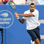 NICK KYRGIOS hits a backhand during his match at the Rock Creek Tennis Center, Washington.