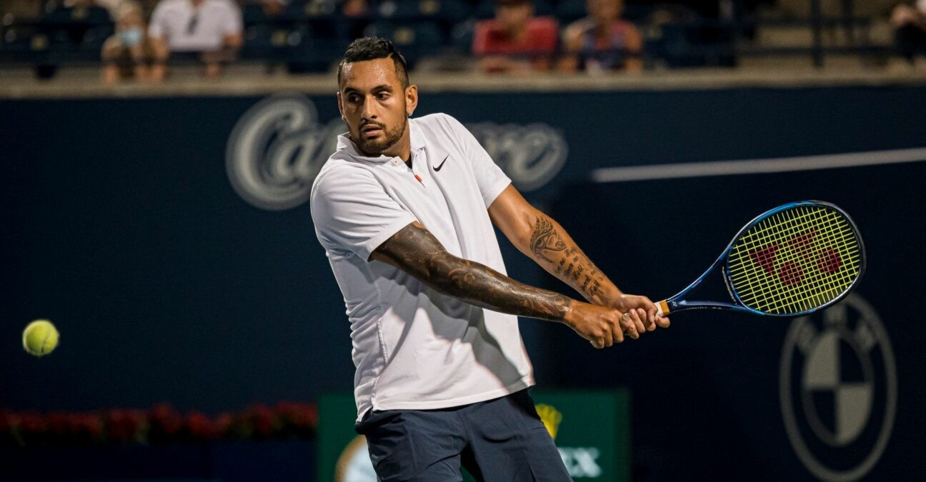 Nick Kyrgios returns a ball from the United States' Reilly Opelka during National Bank Open men's tennis action, in Toronto, Monday, Aug. 9, 2021.